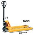 Palletwagen 1150mm L/450mm breed/wielen-rubber/dubbel