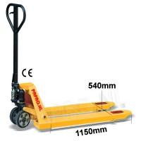 Palletwagen 2500 kg 1150mm L / Slijtvaste wielen-poly/dubbel poly