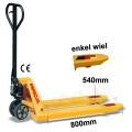 Palletwagen 2500 kg 800mm L / wielen-rubber/enkel poly