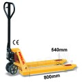 Palletwagen 2500 kg 800mm L / wielen-rubber/dubbel poly